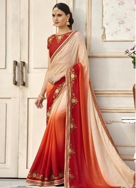 Satin Beige and Orange Lace Work Trendy Saree