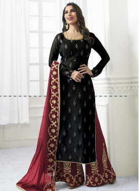 Satin Black and Crimson Palazzo Style Pakistani Salwar Suit