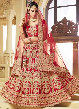 Satin Booti Work Trendy Lehenga Choli