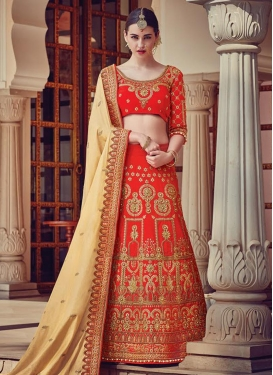 Satin Cream and Red Lehenga Saree
