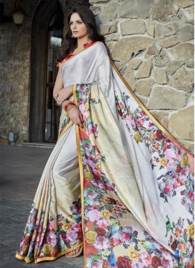 Satin Cream and White Contemporary Saree