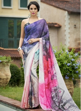 Satin Digital Print Work Contemporary Style Saree