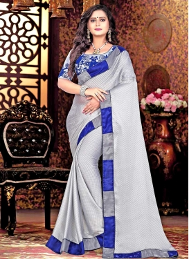 Satin Embroidered Work Blue and Silver Color Classic Saree
