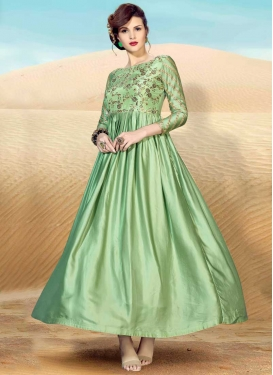 Satin Embroidered Work Readymade Designer Gown