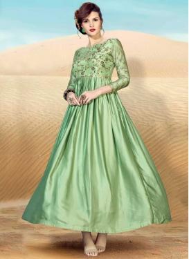 Satin Embroidered Work Readymade Designer Gown
