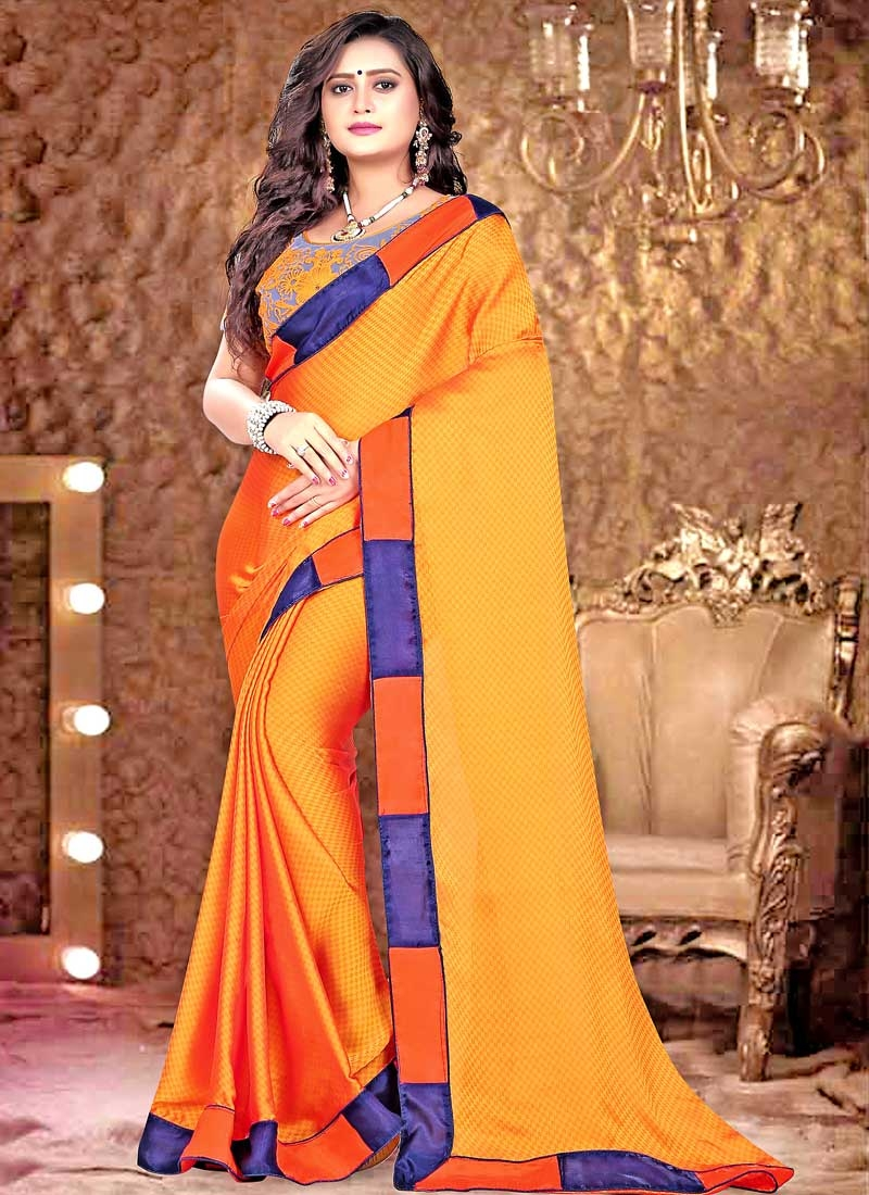 Satin Embroidered Work Traditional Designer Saree