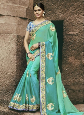 Satin Georgette Beads Work Trendy Saree