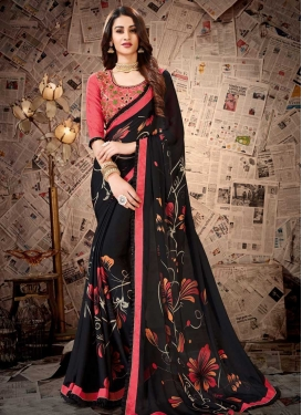 Satin Georgette Black and Salmon Trendy Saree For Casual