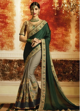 Satin Georgette Bottle Green and Grey Embroidered Work Designer Half N Half Saree