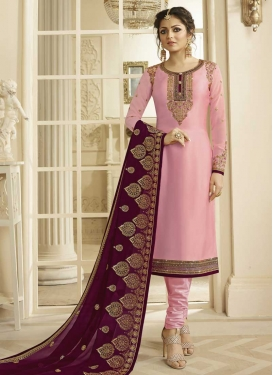 Satin Georgette Drashti Dhami Churidar Suit For Ceremonial