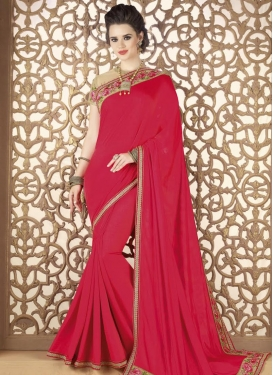 Satin Georgette Embroidered Work Contemporary Saree