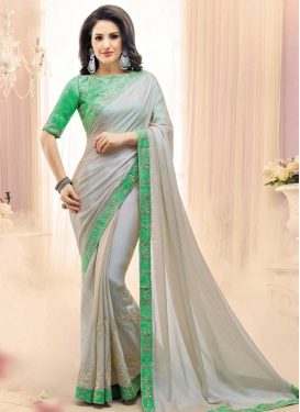 Satin Georgette Embroidered Work Designer Contemporary Style Saree