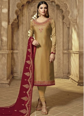 Satin Georgette Embroidered Work Designer Pakistani Salwar Suit