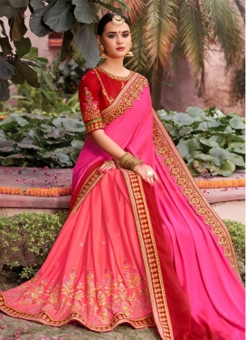 Satin Georgette Embroidered Work Half N Half Trendy Saree