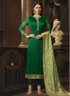 Satin Georgette Embroidered Work Long Length Pakistani Salwar Suit