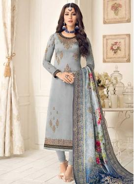 Satin Georgette Embroidered Work Pakistani Straight Salwar Kameez