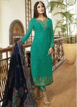 Satin Georgette Embroidered Work Pant Style Pakistani Salwar Kameez