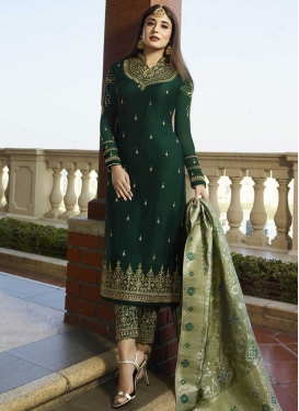 Satin Georgette Embroidered Work Pant Style Pakistani Salwar Suit