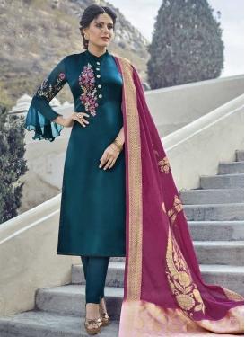 Satin Georgette Embroidered Work Pant Style Pakistani Salwar Suit