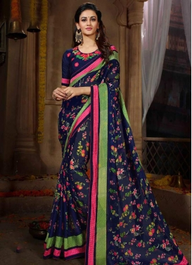 Satin Georgette Embroidered Work Traditional Saree