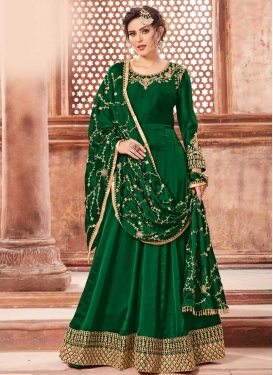 Satin Georgette Embroidered Work Trendy Anarkali Salwar Kameez