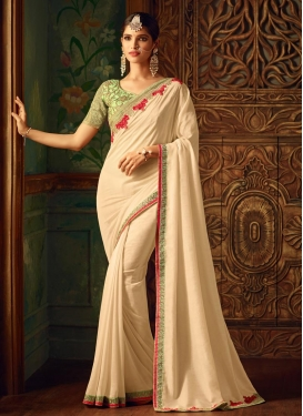 Satin Georgette Embroidered Work Trendy Saree