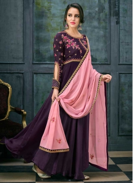 Satin Georgette Floor Length Designer Salwar Suit For Festival