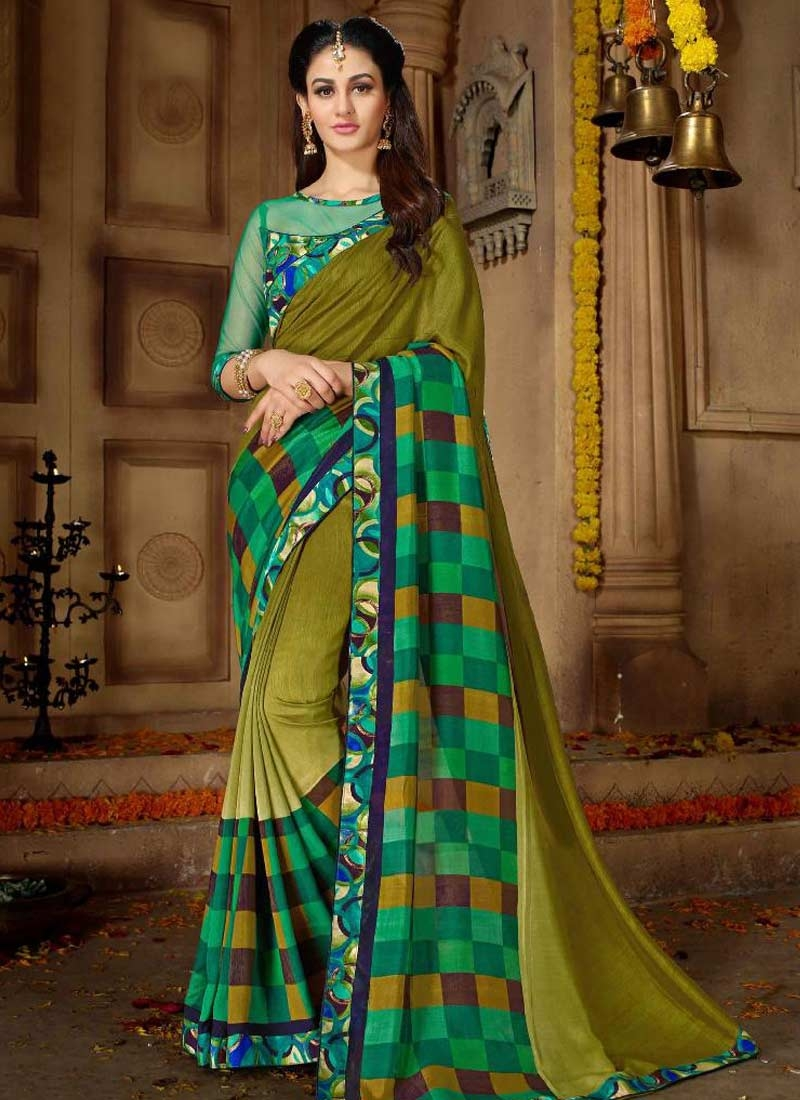 Satin Georgette Green and Olive Trendy Classic Saree For Ceremonial