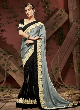 Satin Georgette Lace Work Black and Grey Half N Half Trendy Saree