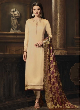 Satin Georgette Long Length Pakistani Suit For Festival