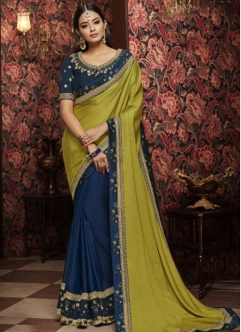 Satin Georgette Navy Blue and Olive Embroidered Work Half N Half Trendy Saree