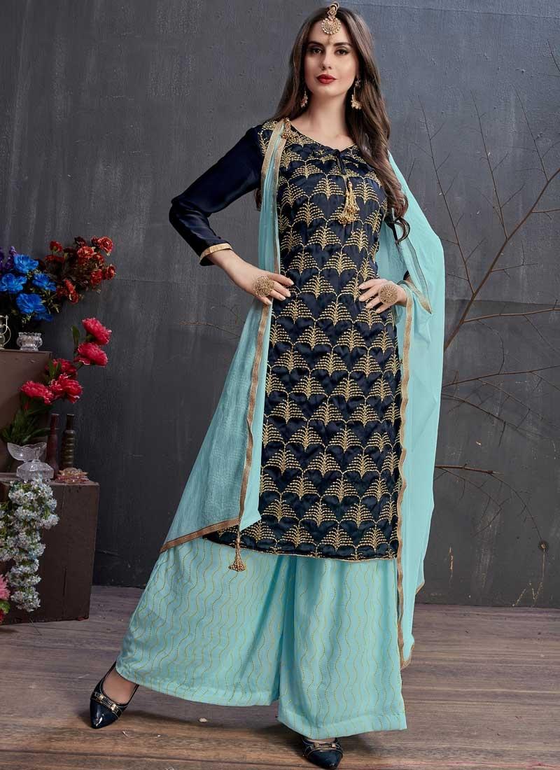 Satin Georgette Navy Blue and Turquoise Designer Palazzo Salwar Kameez