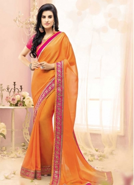 Satin Georgette Orange and Rose Pink Trendy Classic Saree For Festival