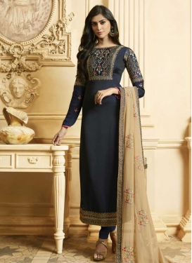Satin Georgette Pakistani Straight Suit For Ceremonial