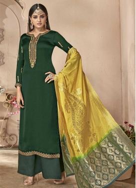 Satin Georgette Palazzo Style Pakistani Salwar Suit