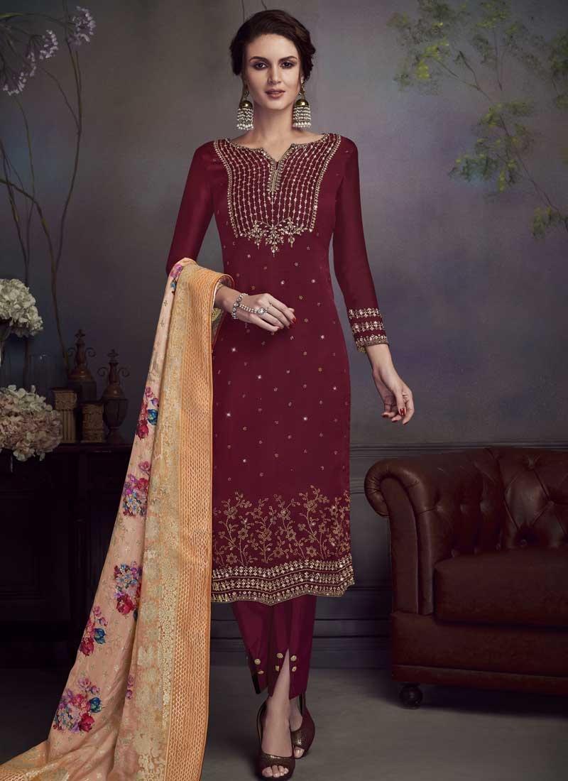 Satin Georgette Pant Style Pakistani Salwar Kameez