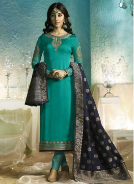 Satin Georgette Pant Style Pakistani Salwar Suit For Ceremonial