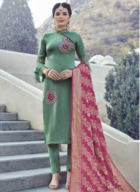 Satin Georgette Pant Style Pakistani Suit For Ceremonial