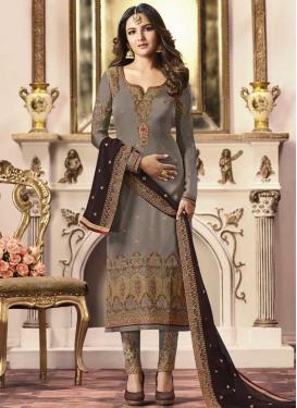 Satin Georgette Pant Style Straight Salwar Kameez