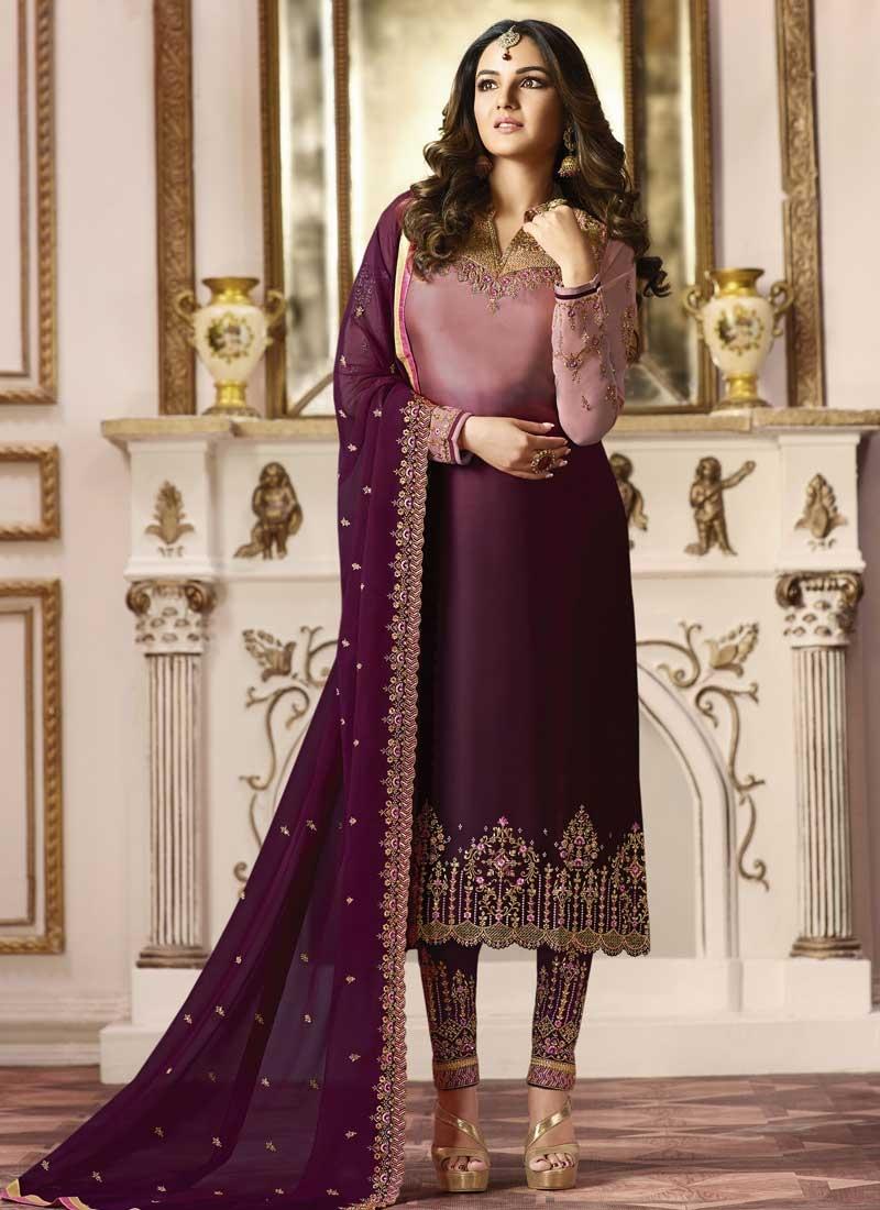 76f025ec9f Buy Satin Georgette Pant Style Straight Salwar Suit Online