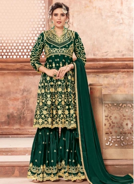 Satin Georgette Sharara Salwar Kameez For Party