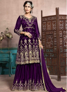 Satin Georgette Sharara Salwar Suit