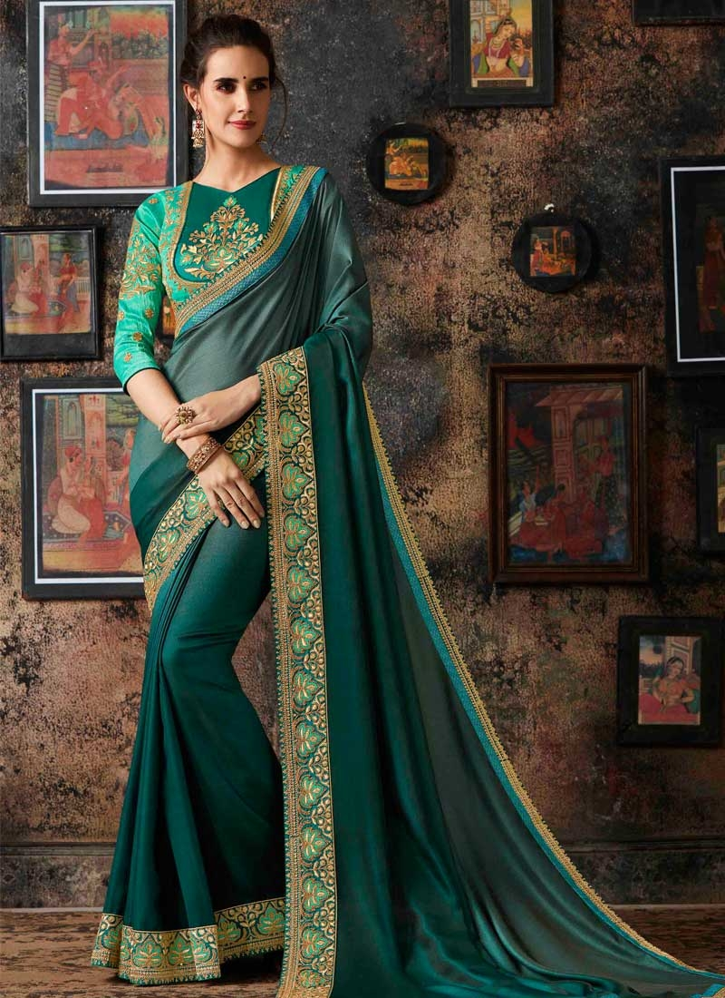 Satin Georgette Traditional Designer Saree For Ceremonial