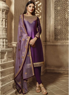 Satin Georgette Trendy Churidar Salwar Kameez