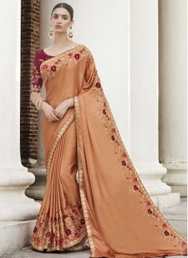 Satin Georgette Trendy Saree For Festival