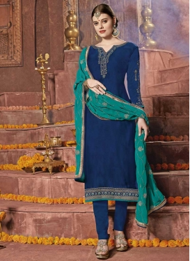 Satin Georgette Trendy Straight Salwar Kameez