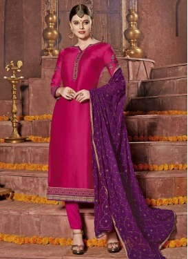 Satin Georgette Trendy Straight Salwar Suit