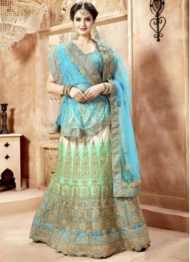 Satin Light Blue and Mint Green Trendy Lehenga Choli
