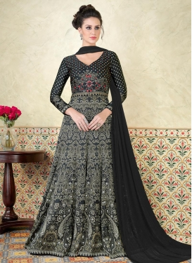 Satin Print Work Floor Length Anarkali Suit
