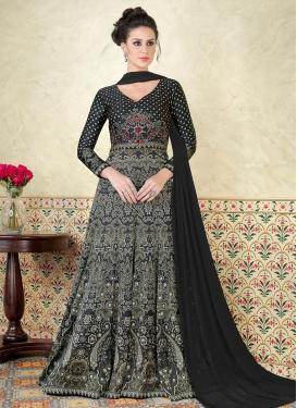 Satin Print Work Floor Length Anarkali Suit